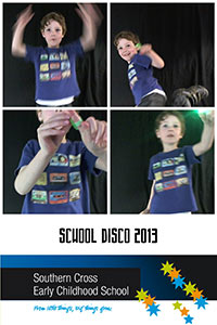 Image of how the photobooth takes four photos and combines them into one image with the school's branding